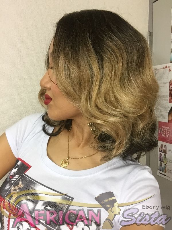 Model Model Deep Invisible Diagonal Part Lace front Wig/French Meadowを着用したアフリカンシスタ店長その2