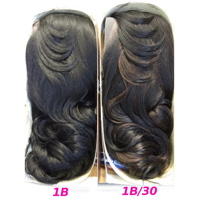 レースフロントウィッグの通販〜Outre Lace front Wig Batik Bandle Hair/Dominican Blowout Relaxedカラー画像(1Bと1B/30)